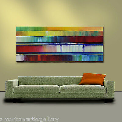 ORIGINAL PAINTING Abstract Very Large 24X60 Textured Modern Art By Thomas John