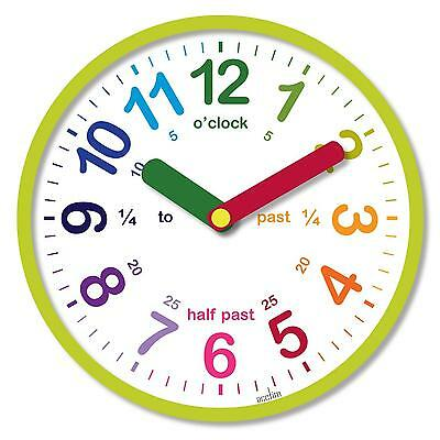 Acctim Green Lulu Round Childrens Time Teaching Learning Real Wall Clock 26cm