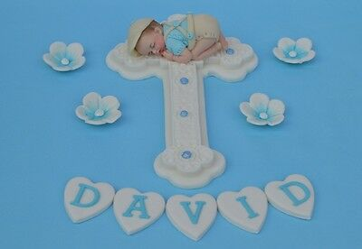 Edible personalised cross & baby in cap Christening  Baptism cake topper