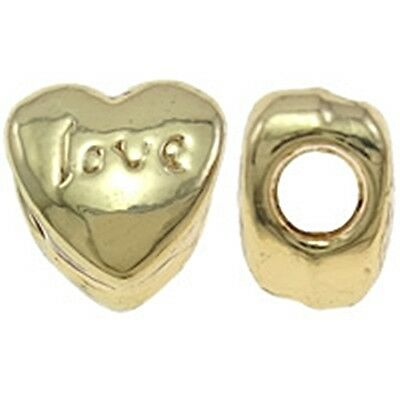 LOVE 11mm Gold Plated Large 4.5mm Hole European Charm Bead 1pc