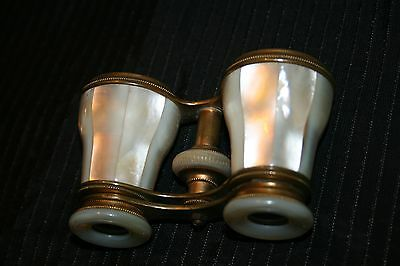 ANTIQUE BRASS OPERA Glasses & Mother Of Pearl wcase Binoculars GREAT FOR EVENTS