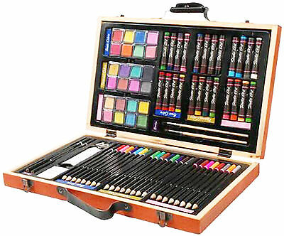 Darice 80-Piece Deluxe Art Set Wooden Portable Case with Snap-shut Handle