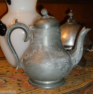 antique Silver Plate 1800s AESTHETIC COFFEE POT tarnished finish pewter look