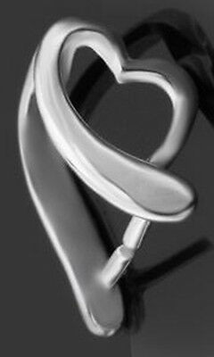 1 Sterling Silver 925 Strong Pendant Pinch Bail + Open Heart, 10 X 7 Mm, Holder