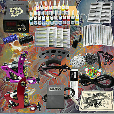 DHL Kit completo de tatuar 2 gun maquina 20 tinta tattoo tatuaje Power Supply