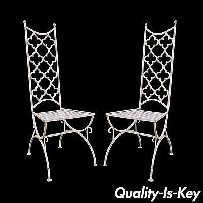 Pair Vintage Hollywood Regency Wrought Iron Clover Fretwork Curule Side Chairs