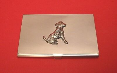 Jack Russell Terrier Dog Pewter Motif Chrome Plated Card Holder Useful Xmas Gift