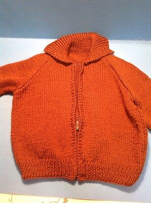 Vintage Retro Style Childrens Cardigan Brown Home Made VGC