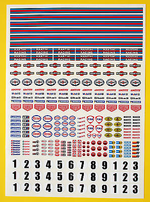 SLOT CAR SCALEXTRIC 1/32nd scale MARTINI Classic Retro Race stickers decals