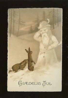 Greetings New Year Norway GLAEDELIG JUL Rabbits snowman c1910/20s? PPC