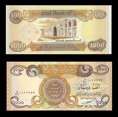 1,000 NEW IRAQI DINAR 1 X 1000   New Uncirculated Lot of 1 From A New Bundle