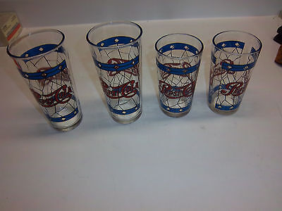 """4 Pepsi Glasses or Tumblers Stained Glass Pattern 2 are 6.5"""" tall, 2 are 5.5"""""""