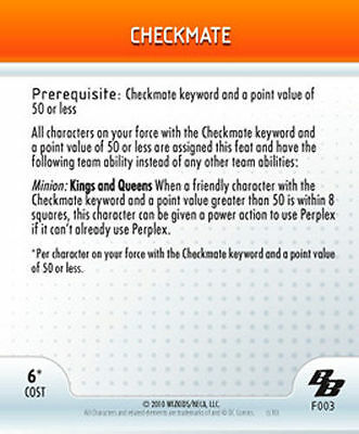 Heroclix Checkmate DC Brave and the Bold F003 Feat 003