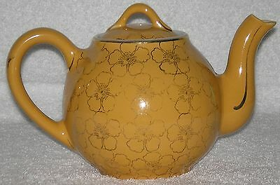 Hall French Teapot Canary Yellow w/Gold Flowers Rare 3 Cup