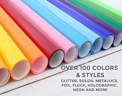 "HEAT TRANSFER VINYL BY THE YARD 36"" x20"" WIDE ROLL 8 TYPES 130+ COLORS-THREADART"