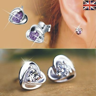 Trendy 925 Sterling Silver Heart Shaped Cubic Zirconia Ear Stud Earrings