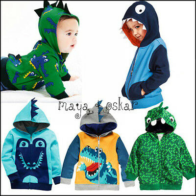 BABY BOYS DINOSAUR TREX CROCODILE GEKO SHARK HOODIE JUMPER TOP HOOD 9m-5yrs