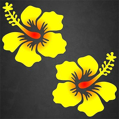 2 Hibiscus Flower Decal Sticker Hawaiian Car Window Beach Tropical Yel/Red