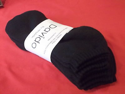 Davido Mens socks ankle low cut 100% cotton made in Italy 4 pair black size 9-11