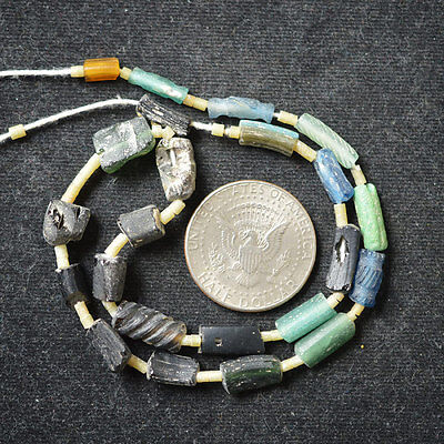 Ancient Roman Glass Beads 1 Medium Strand Black And Green 100 -200 Bc 172