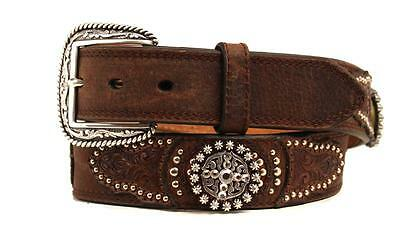 Nocona Western Mens Belt Leather Tooled Embossed Studs Concho Brown A1018002