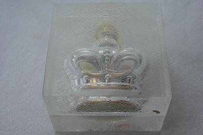 Vtg Prince Machabelli Glass Perfume Bottle in Crackle Lucite Case