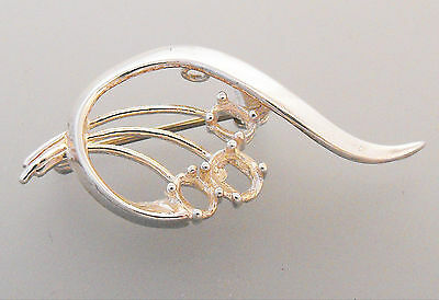 Brooch Blank 925 Sterling Silver Scroll / Floral Pattern Unset