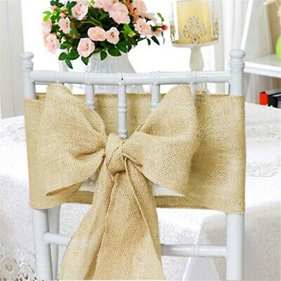 10 Hessian Chair Sash Jute Burlap HESSIAN SASHES FULLER BOW Wedding Party Favor