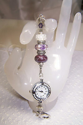 Purple & White Floral Murano & Ceramic & Swarovski Beaded Lanyard With Watch