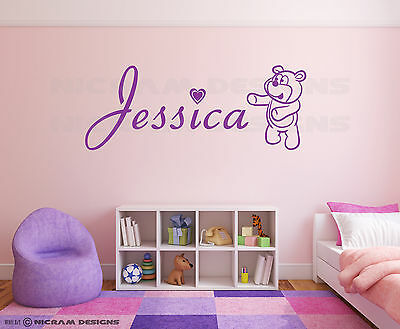 Personalised Girls Boys Name Bedroom Wall Art Any Name Teddy Bear Sticker Decal