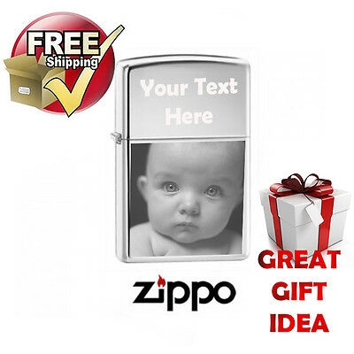 Photo Engraved Zippo Lighter Chrome Polished, Free Personalised, Perfect Gift.