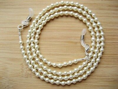 Spectacle Glasses Chain/Necklace Classic Ivory Glass Pearls, Handmade Beaded UK