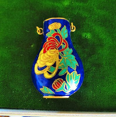 Beautiful Chinese Cloisonne enamel charm / pendant blue green red colors  rt-k
