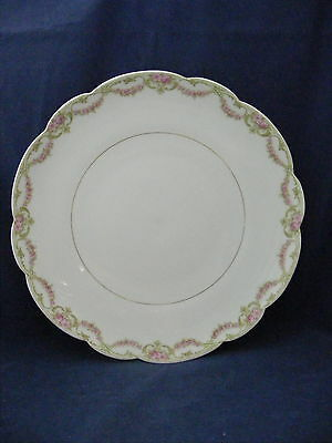 "T & V Limoges 12 5/8"" Charger Scalloped Edge Pink Green Rose Garland"