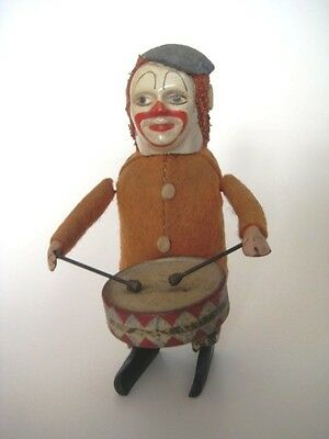 vintage Mechanical Wind-Up Toy Circus Clown Drummer Schuco Germany Works + KEY