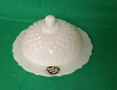 Anchor Hocking Prescut Pineapple Milk White Glass Butter Dish