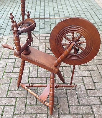 Antique Carved Wood Spinning Wheel