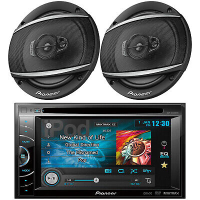 "Kenwood Car 2Din Bluetooth iPod AUX USB CD Radio, 2 JVC Black 6.5"" Car Speakers"