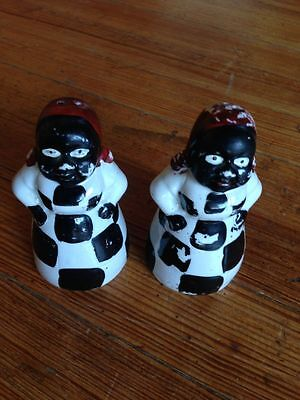 Antique Black Americana Mammy Salt and Pepper Shakers RARE style check dress