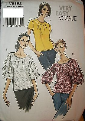 Miss MP Vogue 8392 Sewing Pattern Flounce Sleeve Tops UNCUT Size 6-8-10-12 OOP