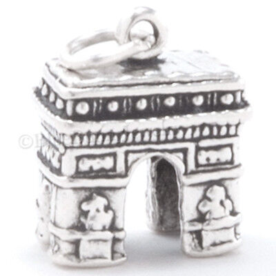 3D ARC DE TRIOMPHE Pendant Paris France TRAVEL Charm 925 STERLING SILVER Detail