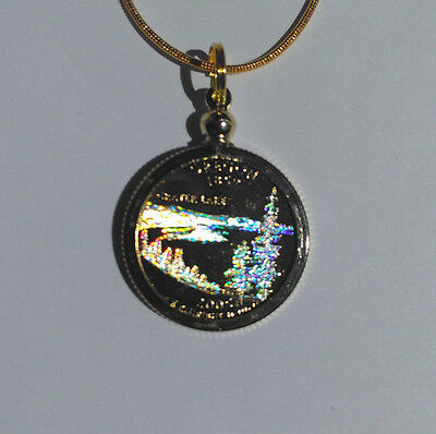 Oregon - Crater Lake - Holigraphic State Quarter - Gold Plated -Coin On Necklace