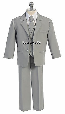 Boy's 5 Piece Grey Gray Silver Formal Tuxedo Suit  Infant Toddler Teen All Sizes