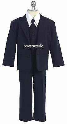 New Boy's 5 Piece Navy Blue Formal Tuxedo Suit  Infant Toddler Teen All Sizes