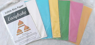 Rice Paper Sheets 6 Pkt Edible Printable White Blue Pink Yellow Green Orange