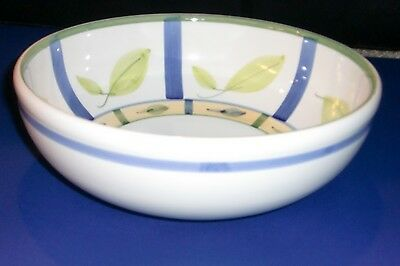 """Caleca - CAA20 - Pasta / Serving Bowl - 11"""" - Blue Yellow Stripes - Green Leaves"""