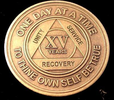 Alcoholics Anonymous AA 15 Year Bronze Medallion Token Coin Chip Sobriety Sober