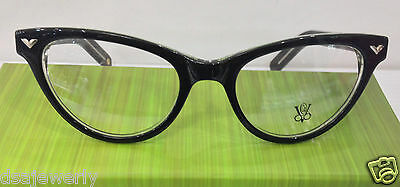 Victory Optical Ms Exec-408 Col BLKCR Black Plastic Cat Eye Eyeglasses Frame New