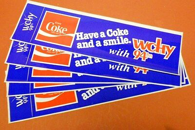 """Lot 10-Set of 5 1970s COLORFULCoca-Cola Radio Station WCHY 94FM"""" Bumper Stickers"""