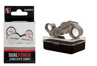 Dual Power Chrome 10x - 20x Jewelers Eye Loupe Magnifier Magnifying Glass